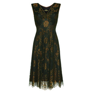 Special Occasion Lace Dress Green And Gold - women's fashion