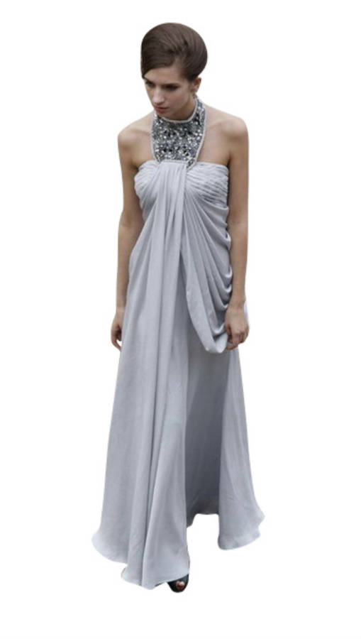 Grey Halterneck Evening Dress With Jewelry Necklace By