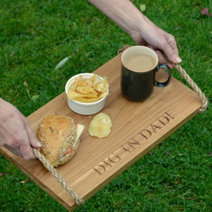 Engraved Oak 'Dig In Dad' Serving Board - tableware