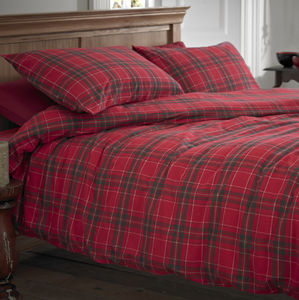 Glencoe Red Tartan Brushed Cotton Duvet Cover Set