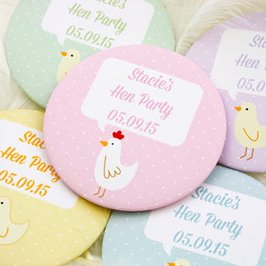Personalised Hens And Chicks Hen Party Badges