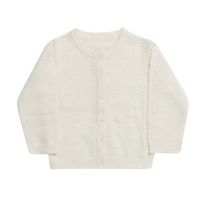 Pure Cashmere Baby's Spot Ball Structure Cardigan Ivory