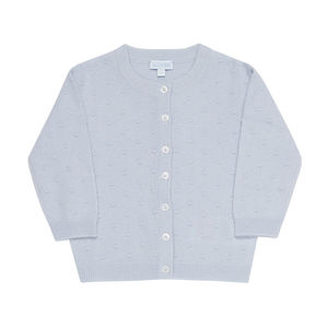 Pure Cashmere Baby's Spot Ball Structure Cardigan - clothing