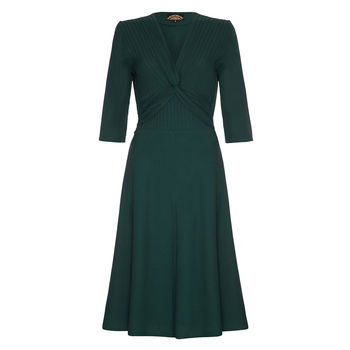 1940s Style Dress In Emerald Green Crepe