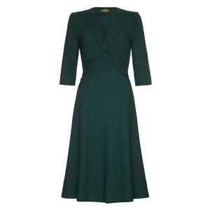 1940s Style Dress In Emerald Green Crepe - dresses