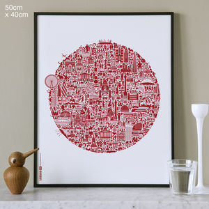 Typographic London Map Print - cityscapes & urban art