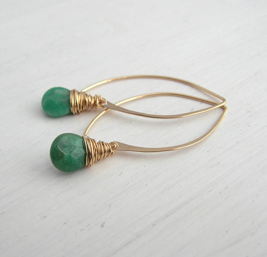 Russian Amazonite Hoop Earrings