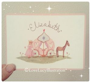 Personalised Princess Carriage Keepsake Card - new baby cards