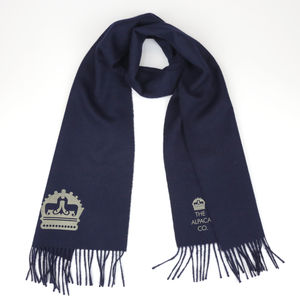 The Alpaca Co. Crest Scarf Navy - scarves