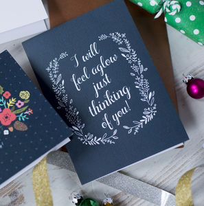 'I Will Feel Aglow Just Thinking Of You!' Xmas Card