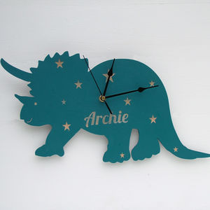 Personalised Wooden Dinosaur Clock - children's clocks