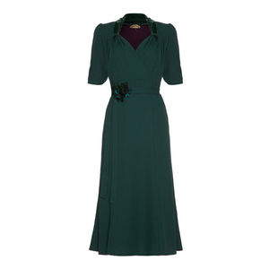 Forties Style Dress With Sweetheart Neckline In Emerald