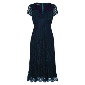Katrina Dress In Emerald And Blackcurrant Lace - women's fashion