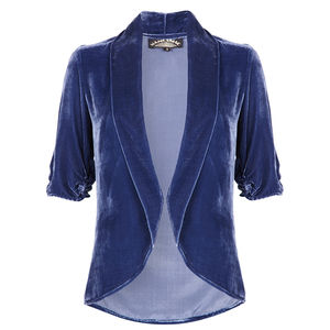 1940s Style Tea Jacket In Celeste Blue Silk Velvet
