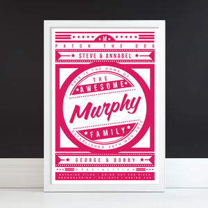 'The Awesome Family' Personalised Retro Print - gifts for families