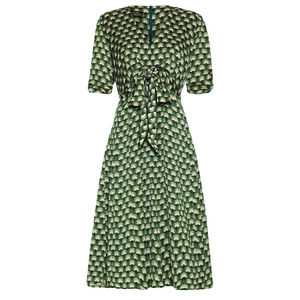 Bow Detail Fifties Inspired Dress In Green Fan Print - women's fashion