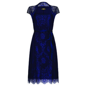 Lace Occasion Dress With Forties Neckline In Blue - dresses