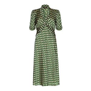 1940s Style Midi Dress In Malachite Fan Print Crepe