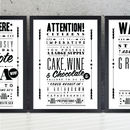 'Cake, Wine & Chocolate' Notice Art Print