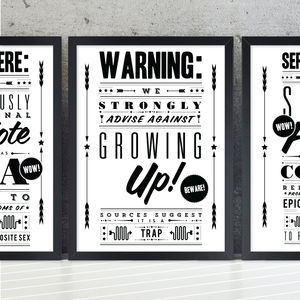 'Growing Up Trap' Retro Notice Art Print - new in