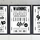 'Growing Up Trap' Retro Notice Art Print