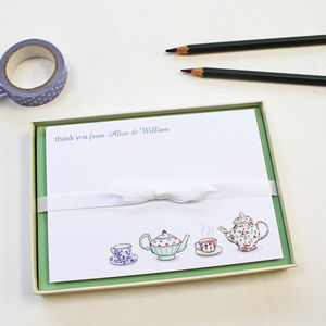 Personalised Tea Notecards Set - writing