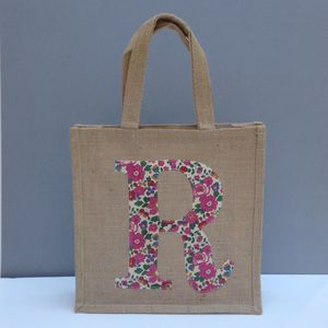 Liberty Print Monogram Hessian Tote Bag - party bag ideas