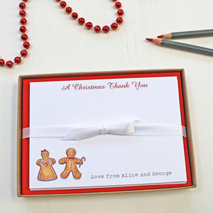 Personalised Gingerbread Notecards Set - office & study