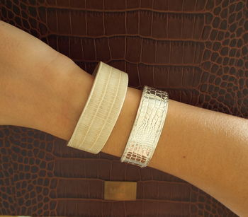 Sterling Silver Cuff With Crocodile Leather Structure