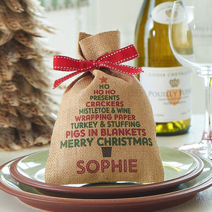 Personalised Christmas Tree Mini Christmas Sack - christmas parties & entertaining