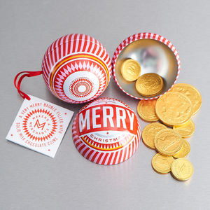 Merry Christmas Bauble With Chocolate Coins - last-minute christmas decorations