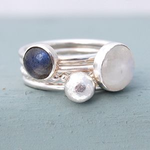 Mist Moonstone And Labradorite Stacking Rings - rings