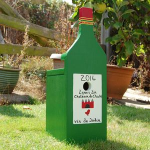 Wine Bottle Personalised Bird Box - garden sale