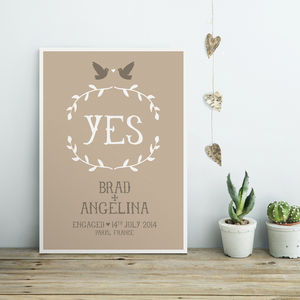 Personalised Engagement Or Wedding Print - posters & prints