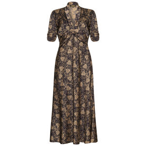 1940s Style Maxi Dress In Firework Flower Print Crepe - dresses