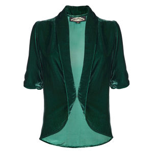 Lilliana Tea Jacket In Peacock Silk Velvet - coats & jackets