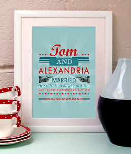 Personalised Vintage Style Wedding Print