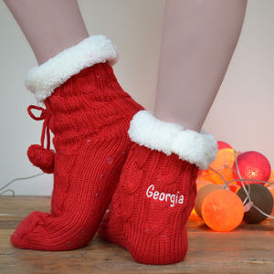 Personalised Chunky Knitted Slipper Boots - festive socks