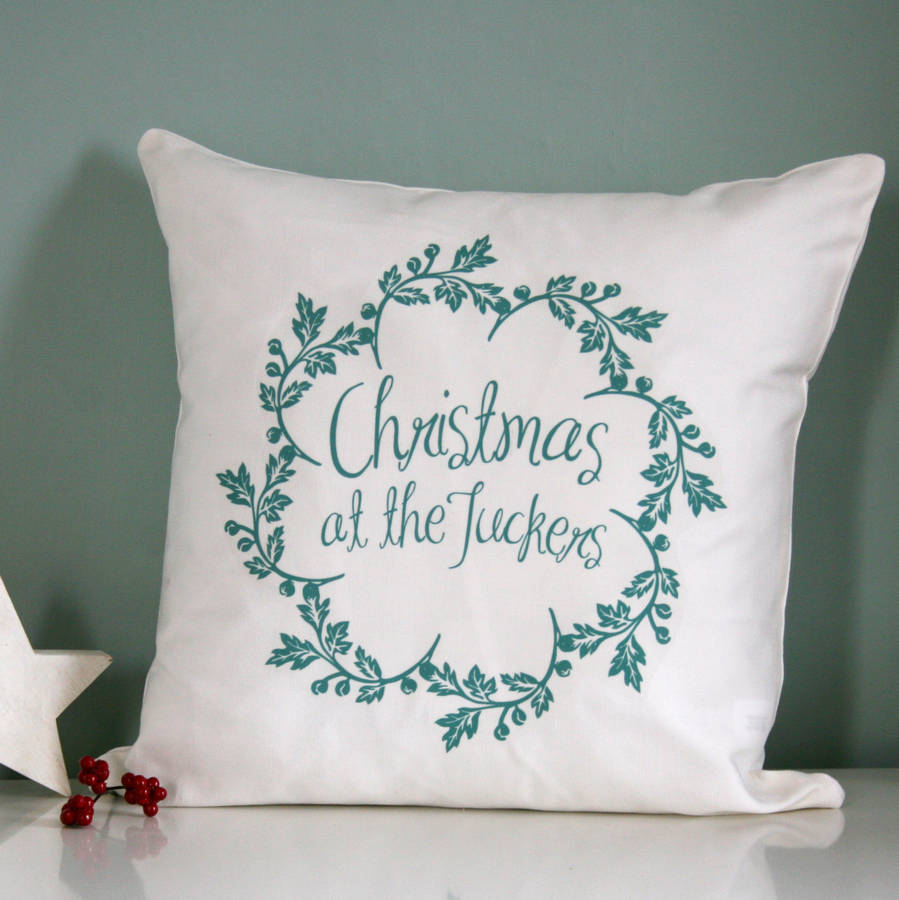 personalised christmas family name cushion by modo creative ... 0b078842def58