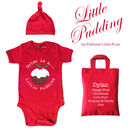 Personalised 'Little Pudding' Christmas Baby Grow