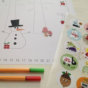 Colour In Advent Poster With Daily Countdown Stickers - posters & prints for children
