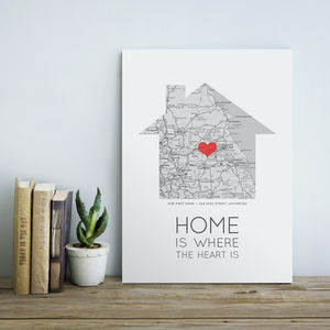 'Home Is Where The Heart Is' Map Print - token gifts