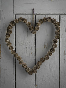 Glitter Pinecone Heart Wreath - wreaths