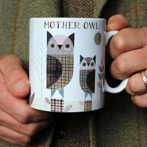 'Owls' Personalised Tweed Design Mug - dining room