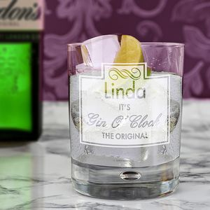 Gin O'clock Personalised Bubble Glass - home