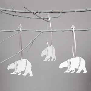 Set Of Six Papercut Polar Bear Decorations