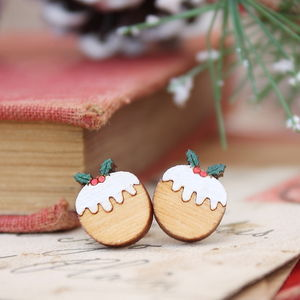 Wooden Christmas Pudding Earrings - christmas food & drink
