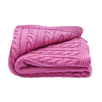 Baby Girls Raspberry Cable Blanket