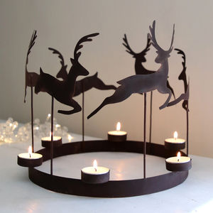 Leaping Reindeer Tealight Ring - christmas home accessories