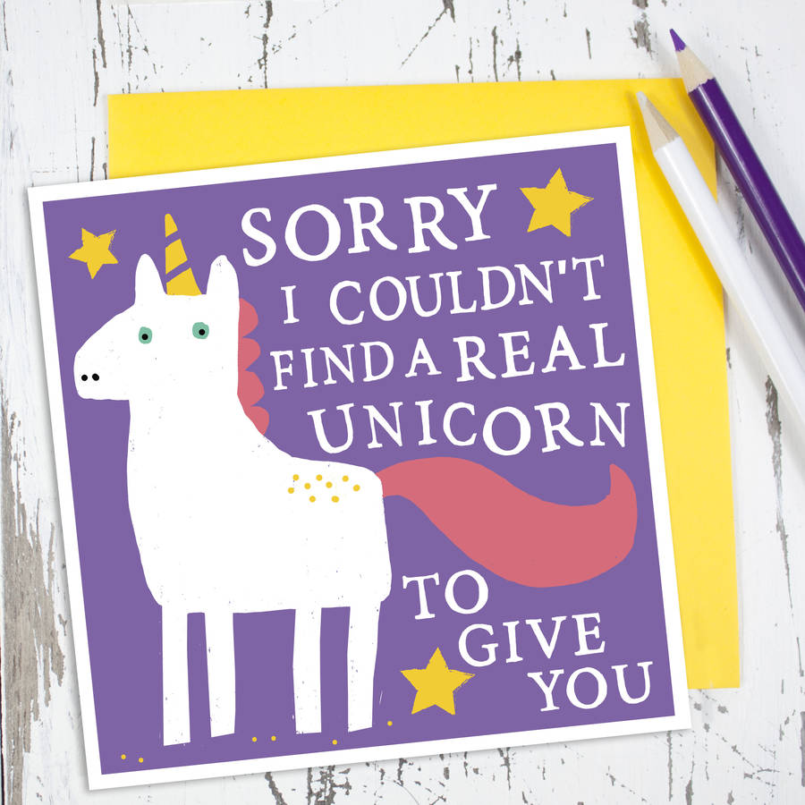 unicorn card by zoe brennan notonthehighstreet